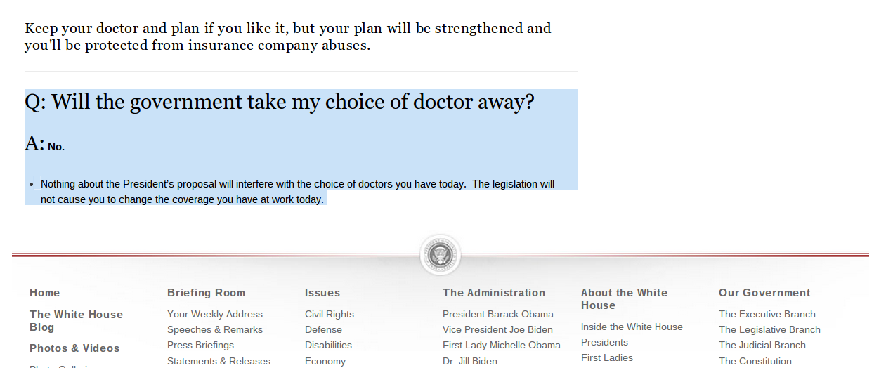 Obamacare Architect Now Says If You Want to Keep Your Doctor, You Can Pay More, but Whitehouse.gov Still Says Otherwise