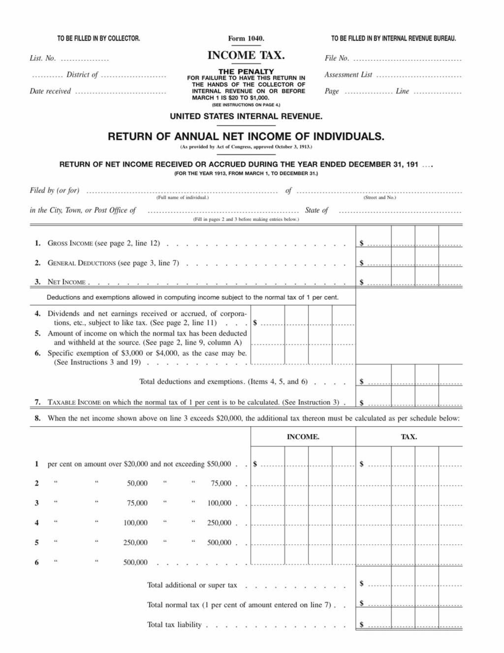 Flashback the 1913 tax return form falaconquin